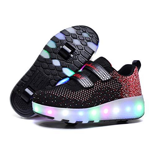 XJBHD Zapatos con Ruedas Zapatillas con Dos Ruedas para Niños y Niña Led Luces Zapatillas USB Recargable Unisex Led Luz Automática de Skate Zapatillas Zapatos Patines Deportes Zapatos