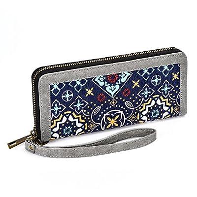 Te-Rich Women Canvas Zip Around Clutch Long Wristlet Wallet