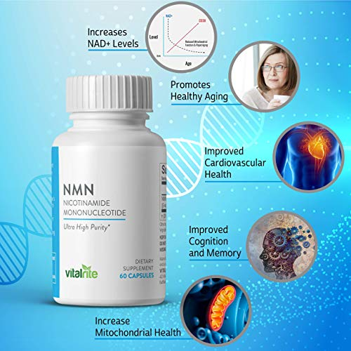 51n0ScolrWL - VitalRite - NMN Supplements | Nicotinamide Mononucleotide - 250mg Per Serving | NAD+ Precursor Supplement | Promotes Anti-Aging and Supports Mitochondria | Increase Cellular Energy and Metabolism