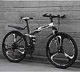 Aoyo Lightweight Frame Mountain Bike 26Inch 24-Speed Double Disc Brake Folding Bikes, Rad Bicycle, Full Suspension Anti-Slip, Suspension Fork (Color : White)