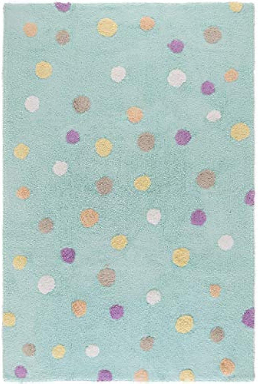 Benuta Kinderteppich Bambini Dots, Baumwolle, Türkis, 120 x 180.0 x 2 cm
