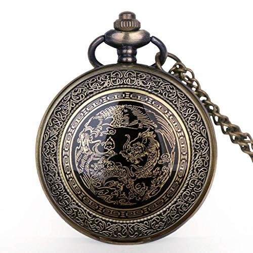 YUTRD ZCJUX Reloj de Bolsillo con diseño de dragón de Bronce Retro, Colgante de Collar de Cuarzo, Reloj Fob, Regalos para Hombre y Mujer