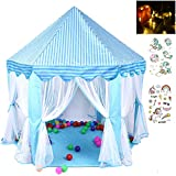 Georgie Porgy Plegable Niños Princess Castle Play House Casa de Juegos Ligera (Castillo Hexagonal Azul Sin Bolas) Gratis para Luces LED de 5M