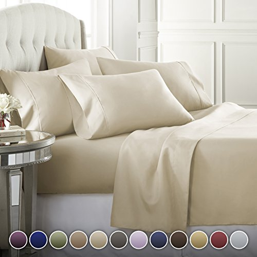 Danjor Linens 6 Piece Hotel Luxury Soft 1800 Series Premium Bed Sheets Set, Deep Pockets, Hypoallergenic, Wrinkle & Fade Resistant Bedding Set(Queen, Cream)