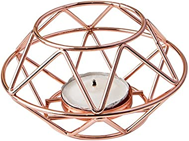 Fashioncraft Geometric Design Rose Gold Metal tealight Candle Holder
