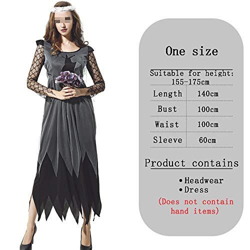 Zombie meisje Halloween Elegant Kostuum, Kant Borduurwerk Onregelmatige Hem Lange Jurk Cosplay Masquerade Horror Fancy Jurk Voor Volwassenen