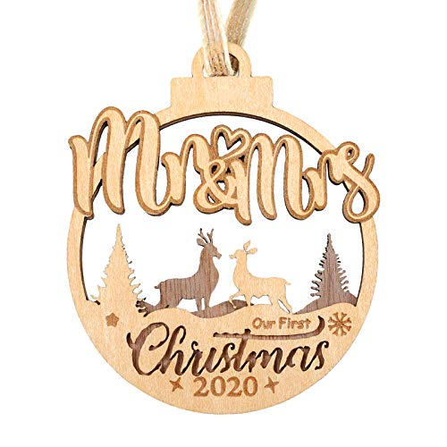 Creawoo Our First Christmas as Mr & Mrs 2020 Ornament, 1st Married Christmas Ornament, 3D Handmade Design Wooden Ornament with a Highly Quality Black Walnut Material