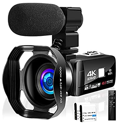 Camcorder Video Camera 4K 48MP 18X Video Camera WiFi YouTube Camera IR Night Vision Camcorder with 360°Wireless Remote Control, External Microphone and Lens Hood by SEREE