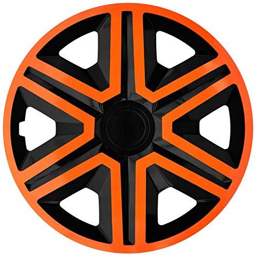 """NRM Action 4 x Universal Radzierblenden Radkappen Satz 4er Set Auto KFZ Zoll (Orange-Schwarz, 14\"""")"""