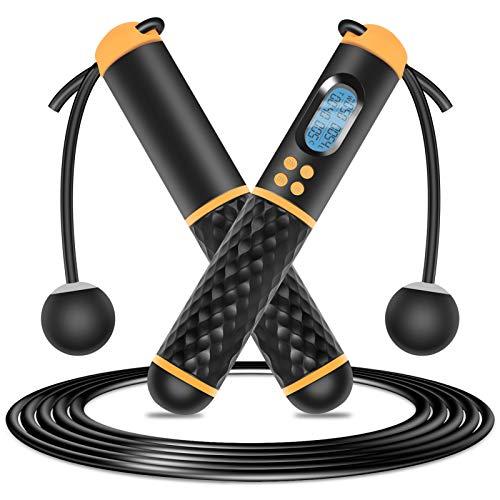 Urslif Springseil ohne Schnur, elektronische Kalorienzähler, LCD-Modus ohne Seil, verstellbar, inkl. tragbarer Paketen, für Männer/Frauen/Kinder, Fitness/Gewichtsverlust/lange Höhe