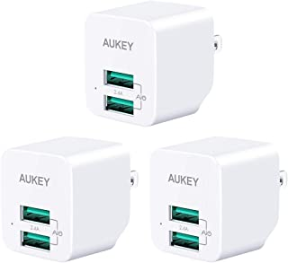 AUKEY USB Wall Charger, Ultra-Compact Mini Charger with Dual-Port 2.4A Output & Foldable Plug, Compatible with iPhone 11 Pro/11 Pro Max/11/XR, Samsung Galaxy S9/S9+, iPad Pro/Air 2, and More(3-Pack)