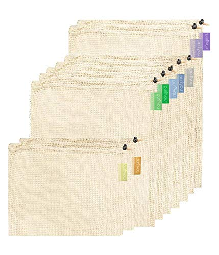 purifyou Premium Reutilizable Mesh/Produce Bags, Set de 9   Algodón Crudo, orgánico, sin blanquear   Doble Costura, con Peso Tara en Las Etiquetas   Grande, Mediano y pequeño