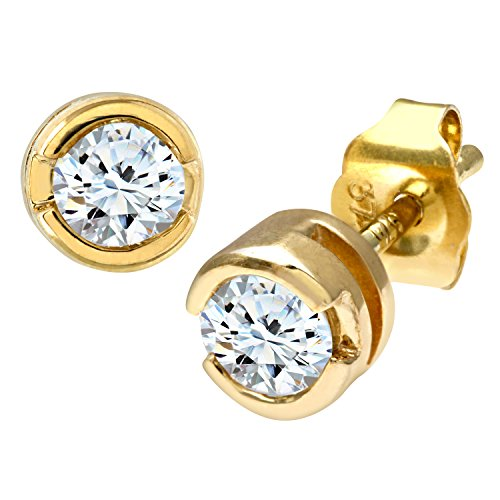 9ct Geel Goud Wrijf Set Derde Karaat Diamanten Oorbellen