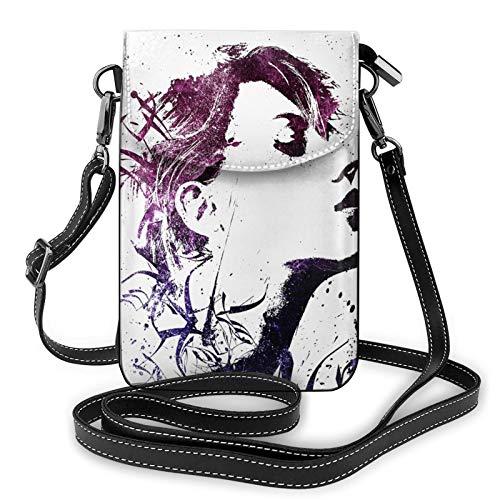 Cartera ligera de piel sintética para teléfono celular, abstracta para mujer, bolso cruzado pequeño, bolso de hombro para mujer, color Negro, talla Talla única