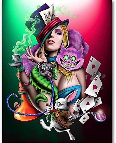 Yingxin34 Rompecabezas de Papel para niños 1000 Piezas Poker Girl and Cat Adultos Ocio Juegos creativos de Rompecabezas Juguetes de Arte Rompecabezas 38 * 26cm