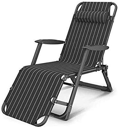 L&B-MR Liegestuhl für den Außenbereich, zusammenklappbar, verstellbar, ohne Schwerkraft, Liegestuhl, tragbar, Liegestühle für draußen, Terrasse, Strand, Hof (Farbe: blau) (Farbe: schwarz)