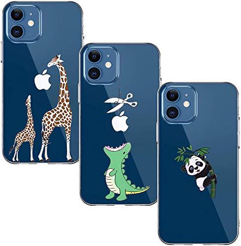Yoowei [3-Pack] Funda para iPhone 12 Mini, Transparente con Dibujos Ultra Fino Suave TPU Silicona Protector Carcasa para iPhone 12 Mini (Dinosaurio Verde + Jirafa Madre e Hijo + Panda)