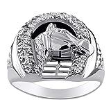 RYLOS - Anello da uomo in oro bianco 14 K, con diamanti a ferro di cavallo, anello in oro bianco per uomo e uomo, anello in oro bianco