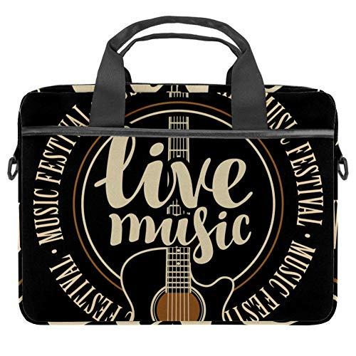 Laptop-Umhängetasche 38,1 cm Aktentasche Dokument Messenger Bag Business Handtasche mit Griff & Schultergurt Live Musik Zitate Gitarre Muster