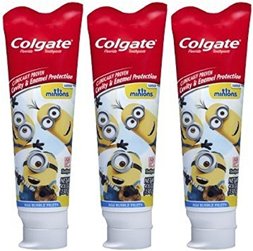 Colgate Minions Mild Bubble Fruit Fluoride Toothpaste, 4.6 oz (Pack of 3)