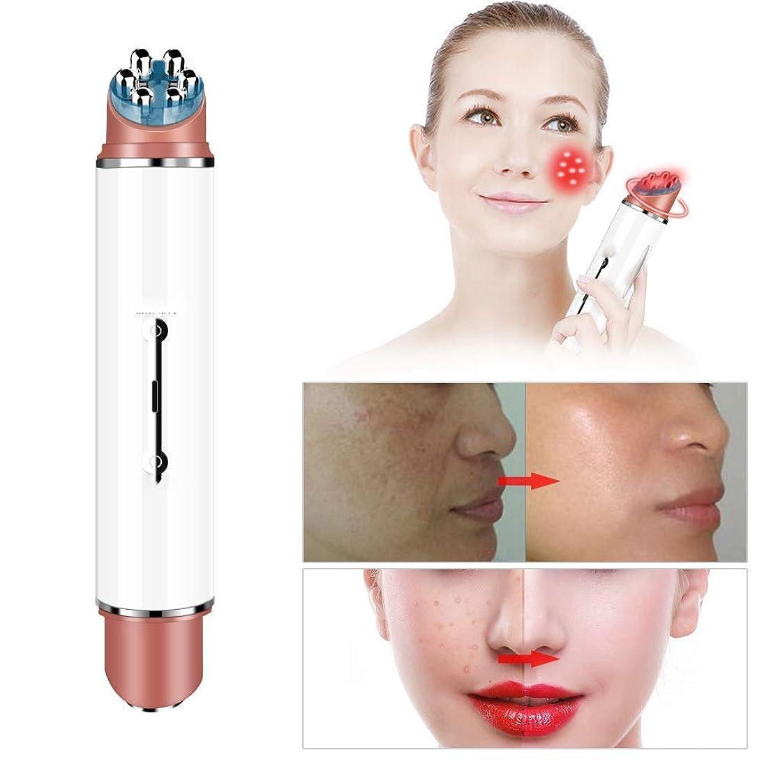 線形肌蓋43℃アイマッサージャー、電気顔アイマッサージャーペンしわダークサークルのむくみを除去EMSバイブレーション若返りアイマシン