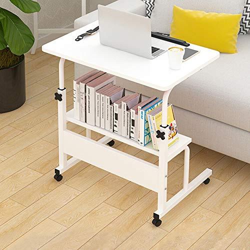 Tragbarer Laptop-Schreibtisch, Überbetttisch mit mobilen Rädern, sperrbare Lenkräder, mobiler Workstation-Notebook-Wagen, ergonomisch geeignet für alle Arten von B