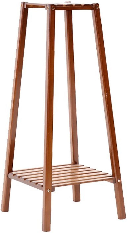 WAN SAN QIAN- Bamboo Floor Stand 2 Tier Tower Flower Stand Bamboo Living Room Folding Flower Rack Balcony Carbonization Flower Frame Flower racks ( Size   3tier )