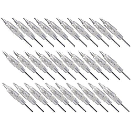30 stücke Einweg Sterilisiert Permanent Makeup Augenbrauen Nadeln Tattoo Nadel mit Kappen für Tattoo Augenbraue Maschine Microblading Stift