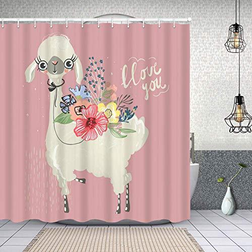 Cortina de Baño con 12 Ganchos,Lindo bebé Animal Llama Alpaca con Flores Ramo Floral Lazo Atado,Cortina Ducha Tela Resistente al Agua para baño,bañera 150X180cm