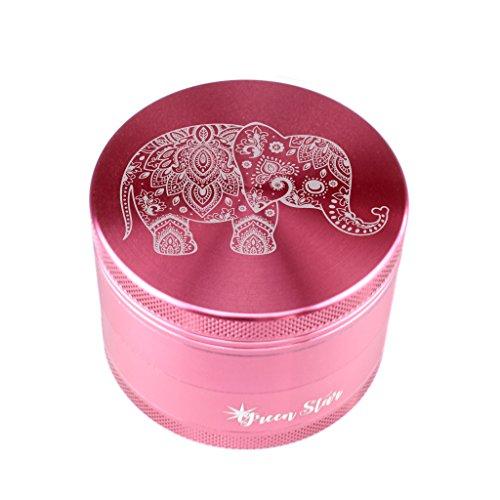 Elephant Herb Grinder - Custom Grinder 4 Piece Herb Grinder Pink Elephant Pink Grinder (pink)