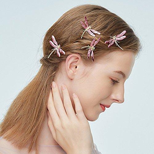 Kercisbeauty Roze Libelle Haarspelden voor Bruiden Bruids Haarstukje Thema Bruiloft Haaraccessoires Tuin Bruiloft Haar Jurk voor Bruidsmeisje Bloemenmeisje (Set van 6)