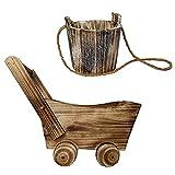 OULVLIFE Macetero de madera para plantas suculentas, combinación para interior y exterior, jardín de casa, patio, juegos redondos + 4 ruedas