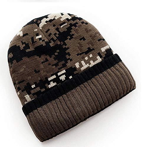 H.ZHOU Herbst-Winter-Männer gestrickte Skimütze Camouflage Hut im Freien Wintersport Cotton Hut-Kappe Hohe Wärmedämmung (Color : Coffee)