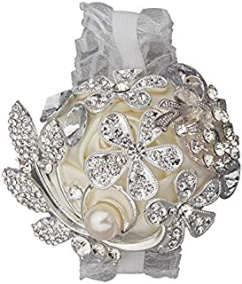 DOTKV Artificial Wrist Silk Flower Boutonniere Wrist Bouquet Corsage Flower with Peal and Diamond for Wedding Decor,Cocktail Party (SilverIvory_Wrist)