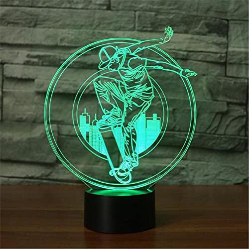 SLJZD luz de noche Lámpara De Noche Led 3D Modelo De Patineta Multicolor Para Decoración De BodasLámpara DeEscritorio Led De 7 ColoresRegalo De Novedad Para Amigos Con Control Remoto