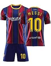 Fotbollströja, Barn Barcelona Lionel Messi # 10 Fan Fotboll T-tröja Jersey Kits för barn (Size : 10 Years)