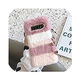 冬カバー柔らかい毛皮のような豪華な電話ケースサムスンギャラクシーJ6 2018 J4プラスA8 A70 A7 A6 A50 A40 A20e A20 A10 A10e A30、A20用、ピンク