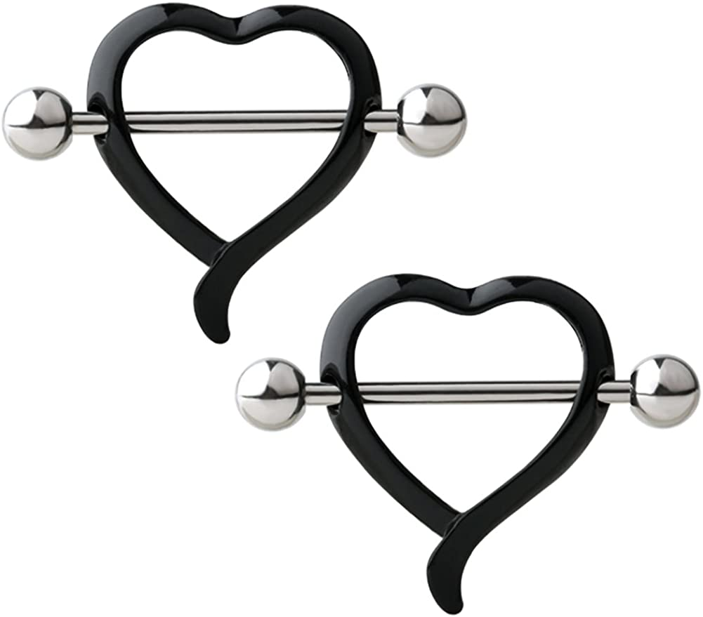 Valentines Love Heart Body Piercing Jewellery Nipple Bars Set Of 2  Blue Design
