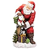 Napco Imports Santa with Mailbox Westie 31.5 Inch Resin Stone Decorative Christmas Statue