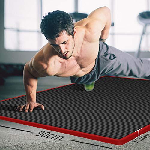 Dqianyu Gymnastik Trainingsmatte,15 mm verdickte Männer Yogamatte Teppich Kantenbeschichtetes, rutschfestes Fitnesspad für Yoga Anfänger Fitness-Trainingsmatte Mit Yogamattenriemen-185 × 80 × 1,5 cm