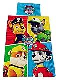 Paw-Patrol Textiles para el hogar, Juego de Ropa de Cama Chase, Marshall, Rubble and Rocky, 100% Cotton, Oeko-Tex (4 Perros)