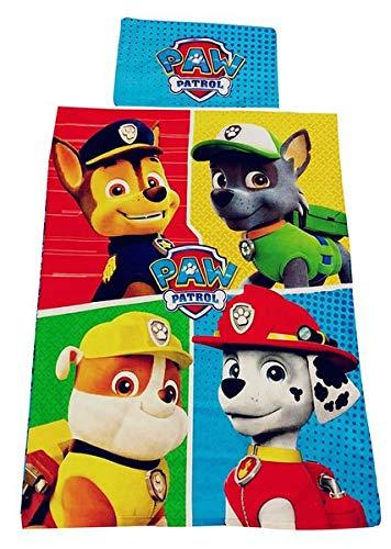 Paw-Patrol Tessili per la casa, Set Biancheria da Letto Chase, Marshall, Macerie e Rocky, 100% Cotone, Oeko-Tex (4 Cani)