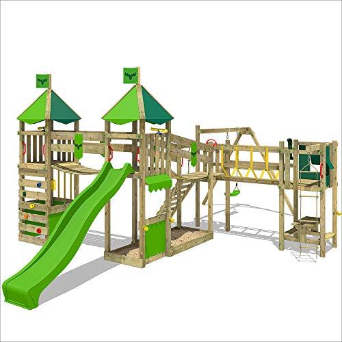 FATMOOSE Spielturm LuckyLord Large XXL Kletterturm Stelzenhaus Baumhaus mit apfelgrüne Rutsche und Schaukel