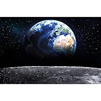 Poster – View of Earth from Moon – Picture Decoration Globe Planet Galaxy Universe Outer Space Cosmos Stars Solar System Image Photo Decor Wall Mural  55x39.4in - 140x100cm