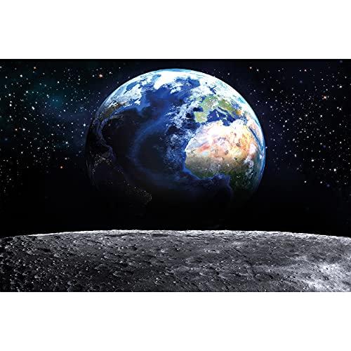 GREAT ART® XXL Poster – Blick auf die Erde aus dem Weltall – Wandbild Dekoration Welt Mond Sky Planet Galaxy Universum All Kosmos Weltkugel Sterne Fotoposter Wanddeko Bild (140 x 100 cm)
