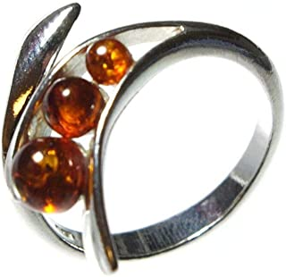 Sterling Silver and Baltic Amber Adjustable Ring Gabriela