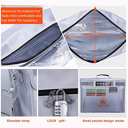 """Fireproof Safe Fireproof Document Bag Money Bag,ENGPOW Large Fireproof Bag(16""""x12""""x4"""") with Lock Zipper,Fire and Water Resistant Fire Safe Bag Home Safe for Money,Document,File,Valuables"""