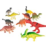 Hey! Play! 10-Pack Toy Dinosaur Figure Set Includes T-Rex, Stegosaurus, Styracosaurus and More- Fun Assorted Pack Dinosaurs for Boys and Girls