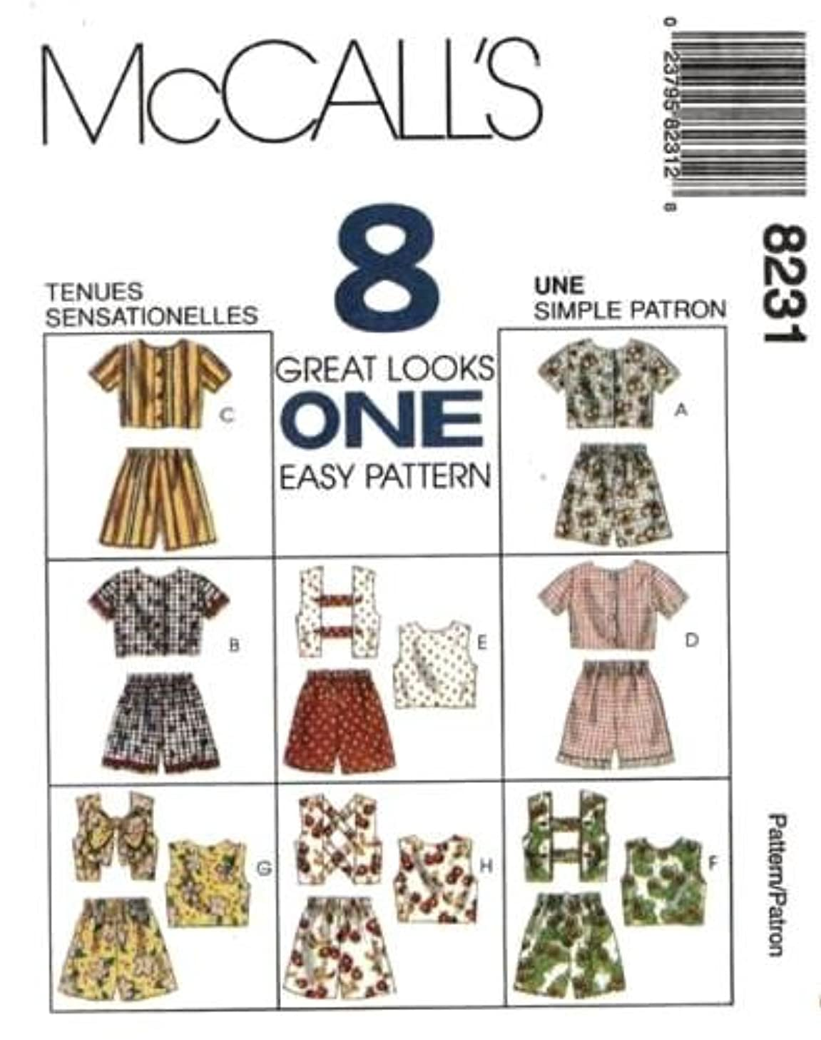 McCall's Sewing Pattern 8231 Girls' Tops and Pull-on Shorts - 8 Looks, CJ (Size 10 12 14)