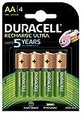 Duracell Recharge Ultra Piles Rechargeables type AA 2500 mAh, Lot de 4 piles